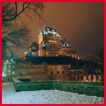 The Fairmont Chateau Frontenac at night. Photo courtesty of Fairmont Resorts