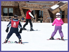 Ski school at Snowbasin; photo by Mitch Kaplan
