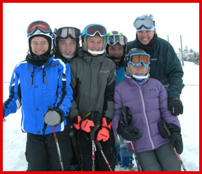 Sports Club Internatinal Coach Tiffany gets the girls smiling at Copper Mt.; photo by Tammie Thompson