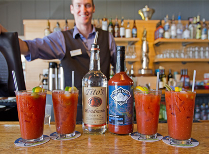 Lodge at Sugar Bowl - World Famous Bloody Mary's with a smiling belt room bar tender