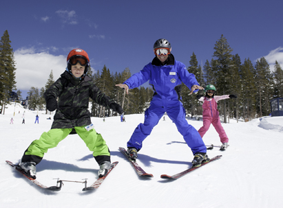 Children taking a lesson with a Sugar Bowl Ski instructor