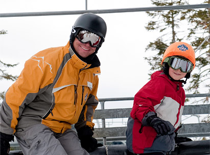 Child and Instructor on ski lift