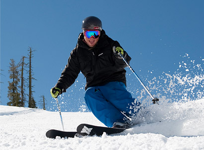 Skier slashes a turn