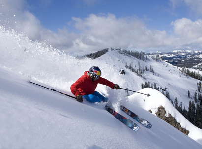 Corporate Partners - Daron Rahlves - making a powder turn at Sugar Bowl