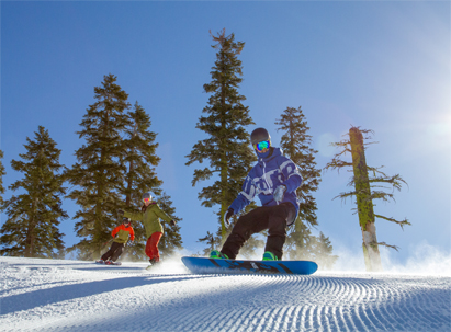 A Group of riders on perfect groomers