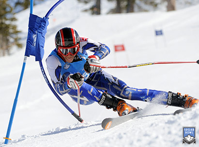 Ski Racing - Daron Rahlves turning through a downhill gate
