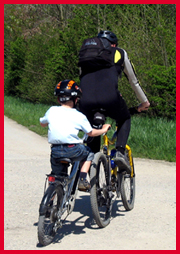 Tow bikes get the entire family out riding; photo by Mitch Kaplan