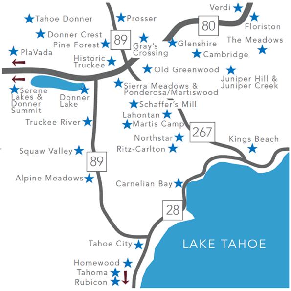 truckee map lake tahoe Lake Tahoe Truckee Nancy Costello Broker Owner Search By Map truckee map lake tahoe