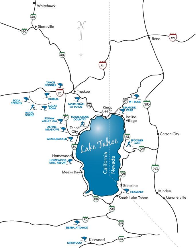 Lake tahoe ski map all lake tahoe ski resorts on one map sciox Image collections